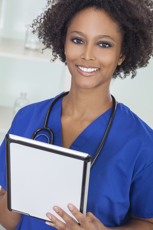 African American Female Woman Doctor & Computer